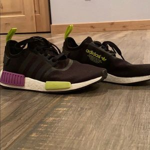 Black, white, purple and green NMDs